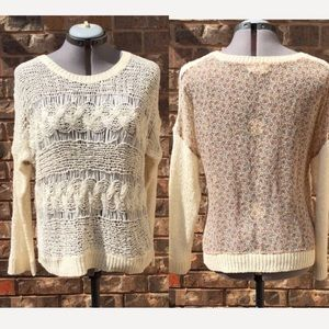 Freeway cream crochet and floral print sweater, L